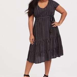 Torrid -BLACK DOT STRIPE CHALLIS TIERED MIDI DRESS